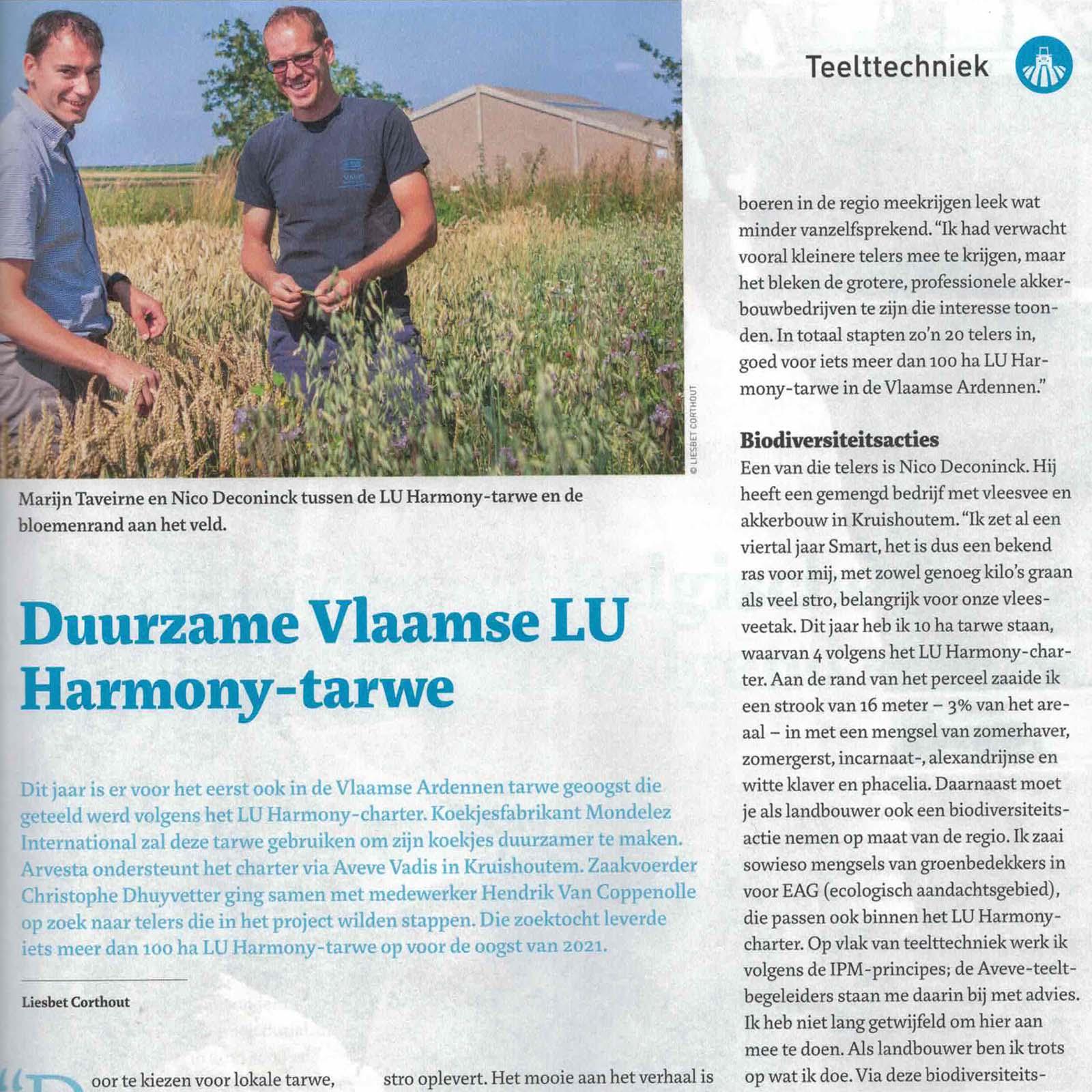 Persartikel Boer en Tuinder 5 aug. 2021: Duurzame Vlaamse LU Harmony tarwe